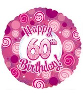 "18"" Happy 60th Birthday Pink Dazzeloon"