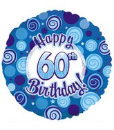 "18"" Happy 60th Birthday Blue Dazzeloon"