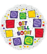 "17"" Get Well Soon Squares Balloon with Ribbon"
