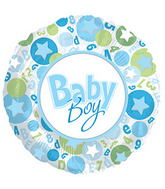 "17"" It's A Boy Stars In Circle Balloon"