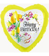 "17"" Happy Birthday Yellow Floral Packaged"