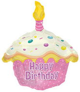 "17"" Happy Birthday Day Pink Cupcake Shape Packaged"