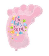 "34"" It&#39s A Girl Baby Foot Shape-A-Loon Box108"