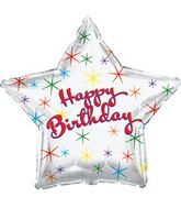 "17"" Happy Birthday Day Multi Color Sparkles Packaged"