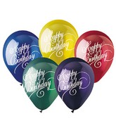 "12"" Assorted Elegant Script ""Happy Bday""  Latex 50&#39s"