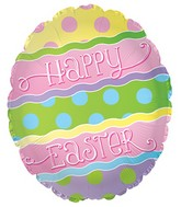 "17"" Happy Easter Rene Font Egg Shape Balloon"