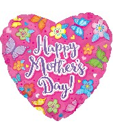 "17"" Happy Mother&#39s Day Pink W/Flowers Balloon"