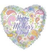 "17"" Happy Mother's Day Paisley Heart Balloon"