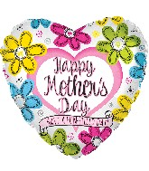 "17"" Happy Mother&#39s Day Ink Flowers Heart Balloon"