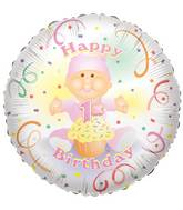 "18"" Baby 1st Birthday Girl Balloon"
