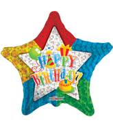 "4"" Airfill Only Happy Birthday Patterned Star Balloon"