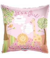 "18"" It&#39s A Girl Jungle Balloon Personalize writable"