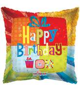 "18"" Happy Birthday Abstract Present Balloon"