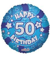 "18"" Holographic Blue Happy 50th Birthday Balloon"