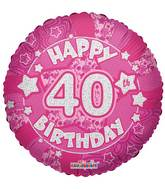 "18"" Holographic Pink Happy 40th Birthday Balloon"