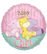 "18"" Baby Girl Jungle Animals Balloon"