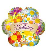 "18"" Happy Birthday Flowers With Banner Balloon"