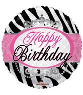 "18"" Birthday Zebra Print Balloon"