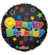 "18"" Happy Birthday Smiley On Black Balloon"