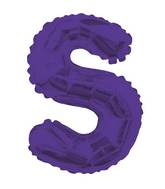 "14"" Airfill with Valve Only Letter S Purple Balloon"