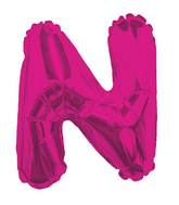"14"" Airfill with Valve Only Letter N Hot Pink Balloon"