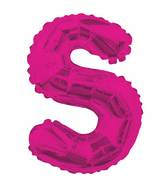 "14"" Airfill with Valve Only Letter S Hot Pink Balloon"