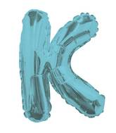 "14"" Airfill with Valve Only Letter K Light Blue Balloon"