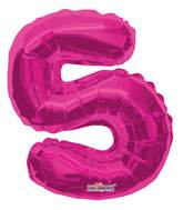 "14"" Airfill with Valve Only Number 5 Magenta Balloon"