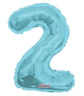 "14"" Airfill with Valve Only Number 2 Light Blue Balloon"