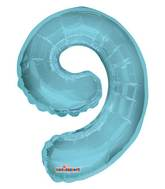 "14"" Airfill with Valve Only Number 9 Light Blue Balloon"
