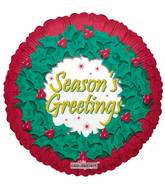 "9"" Airfill Only Seasons Greetings Wreath Balloon"