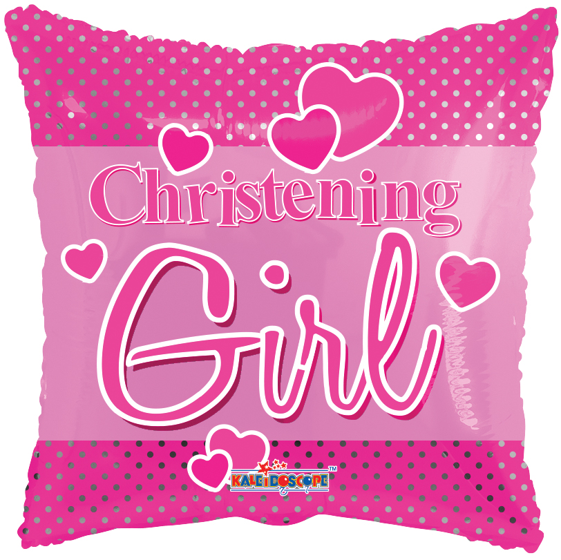 "18"" Christening Girl Dots Balloon"