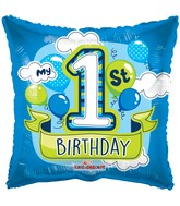 "18"" 1st Birthday Boy Balloons Gellibean Balloon"