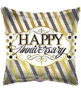 "18"" Anniversary Lines & Dots Balloon"
