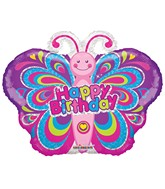 "12"" Airfill Only Happy Birthday Colorful Butterfly Balloon"