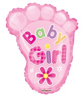 "20"" Baby Girl Foot Shape Gellibean Balloon"
