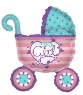 "36"" Baby Girl Stroller Shape Balloon"