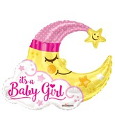 "36"" Baby Girl Moon Shape Gellibean Balloon"