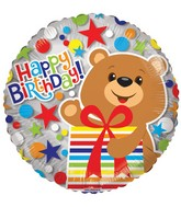 "18"" Bear With Presents Clearview Balloon"
