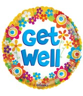 "18"" Get Well Colorful Daisies Balloon"