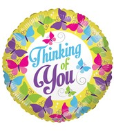 "18"" Thinking Of You Butterflies Balloon"
