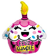 "18"" Feliz Cumple Cupcake Rosa Shape Balloon"