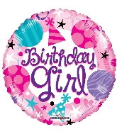 "18"" Round Birthday Girl Balloon"