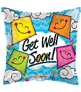 "9"" Airfill Only Square Get Well Soon Kites Gellibean Balloon"