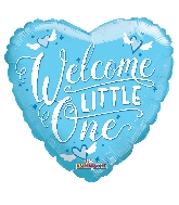 "18"" Heart Welcome Little One Blue Gellibean Balloon"