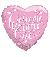 "18"" Heart Welcome Little One Pink Gellibean Balloon"