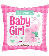 "18"" Square Baby Girl Little Elephant Gellibean Balloon"
