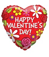 "18"" Happy Valentine&#39s Day Flowers Balloon"