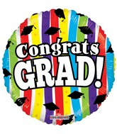 "18"" Congrats Grad Stripes Balloon"