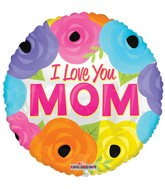 "18"" I Love You Mom Bright Flowers Balloon"